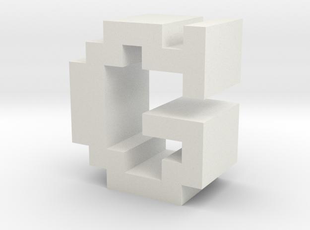 """G"" inch size NES style pixel art font block in White Natural Versatile Plastic"