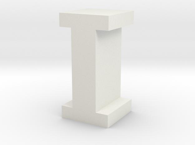"""I"" inch size NES style pixel art font block in White Natural Versatile Plastic"