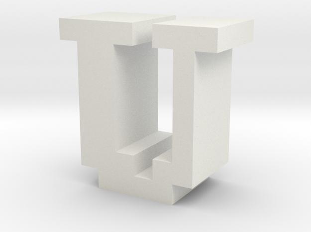 """U"" inch size NES style pixel art font block in White Natural Versatile Plastic"
