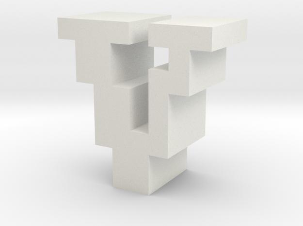 """V"" inch size NES style pixel art font block in White Natural Versatile Plastic"