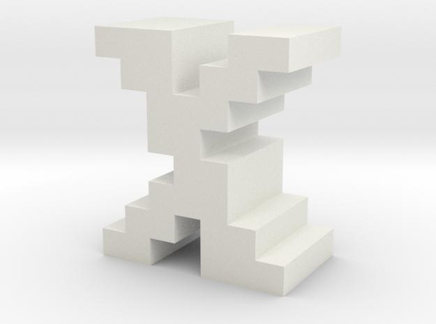 """X"" inch size NES style pixel art font block in White Natural Versatile Plastic"