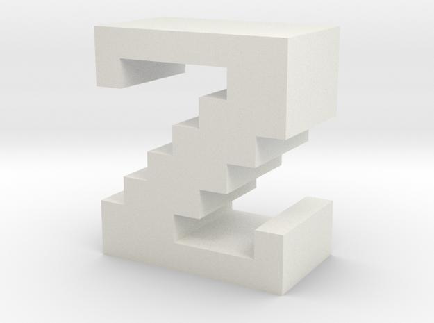 """Z"" inch size NES style pixel art font block in White Natural Versatile Plastic"