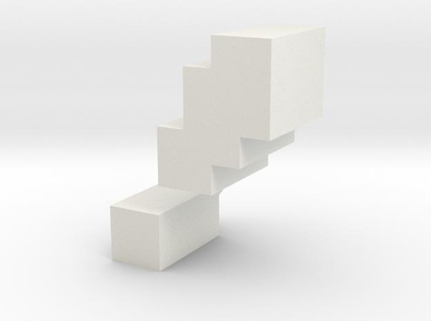 """!"" inch size NES style pixel art font block in White Natural Versatile Plastic"