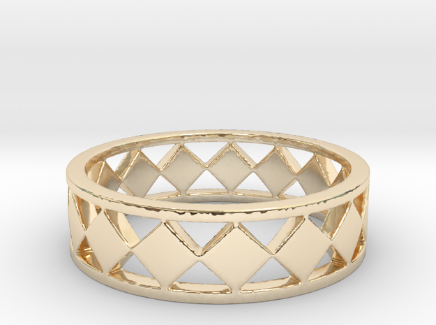 Diamond Barred Ring Band in 14K Yellow Gold
