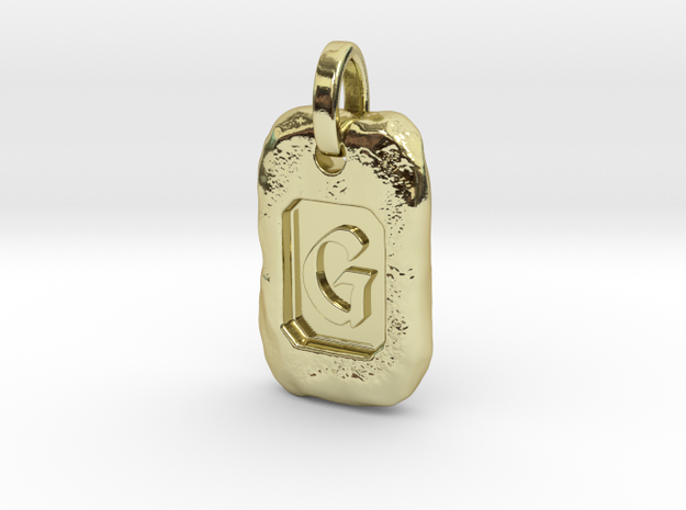 Old Gold Nugget Pendant G in 18k Gold Plated Brass