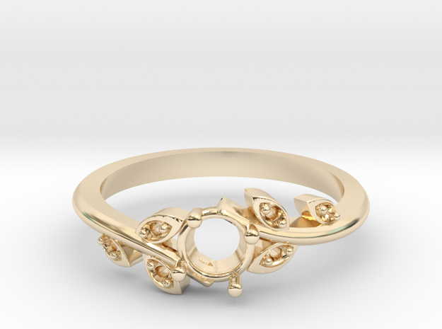 Leaf Ring With Center Stone  in 14K Yellow Gold