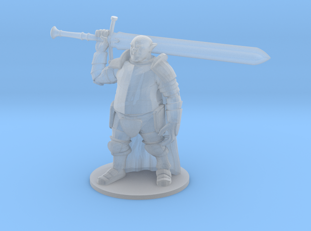 Ogre in Plate Armor with Sword in Smooth Fine Detail Plastic
