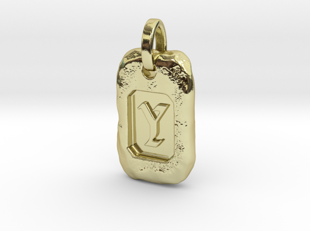 Old Gold Nugget Pendant Y in 18k Gold Plated Brass