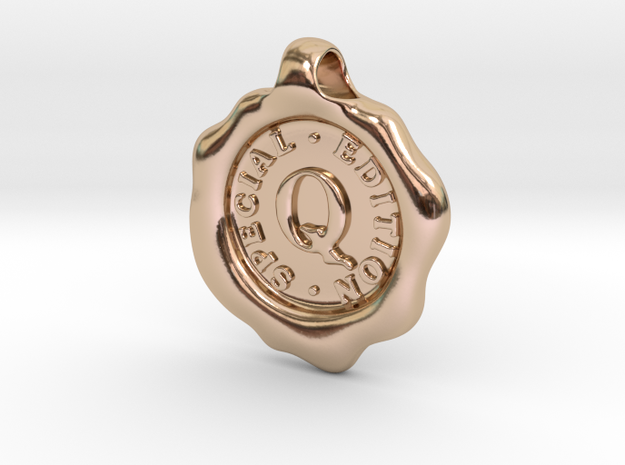 Seal Pendant Q in 14k Rose Gold Plated Brass