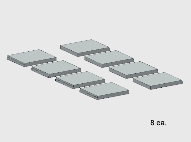 Sidewalk - End Segments (8 ea.) in White Natural Versatile Plastic: 1:87 - HO