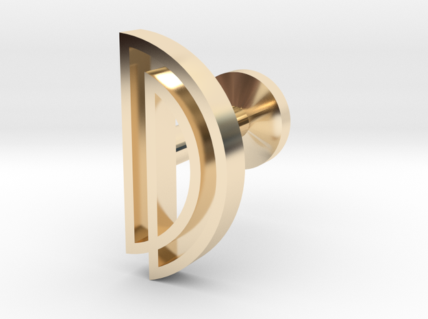 Letter D in 14k Gold Plated Brass