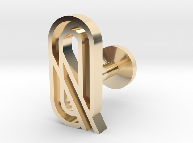 Letter Q in 14k Gold Plated Brass