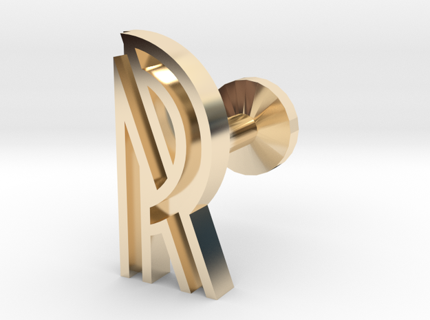 Letter R in 14k Gold Plated Brass