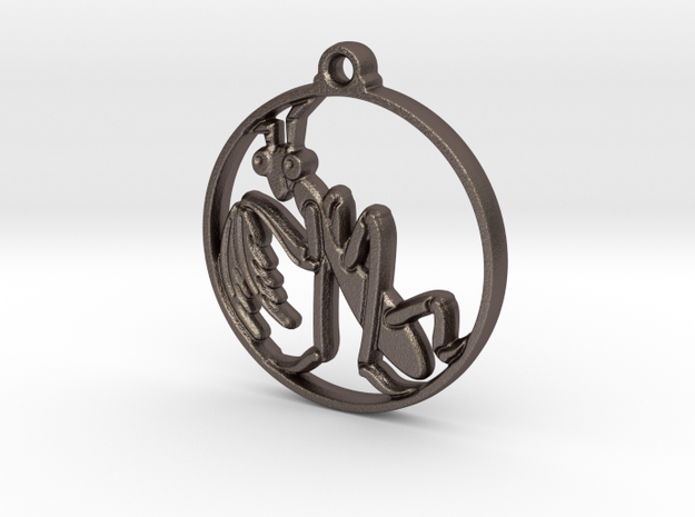 Mantis Pendant in Polished Bronzed-Silver Steel