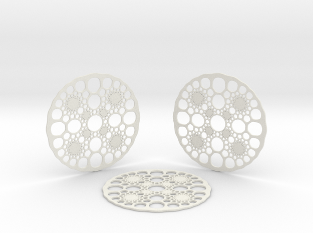 Caley Coasters in White Natural Versatile Plastic