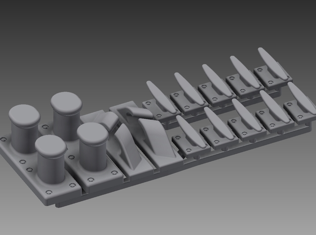 P boat bollards, fairlead and cleat set 1/48 in Smooth Fine Detail Plastic
