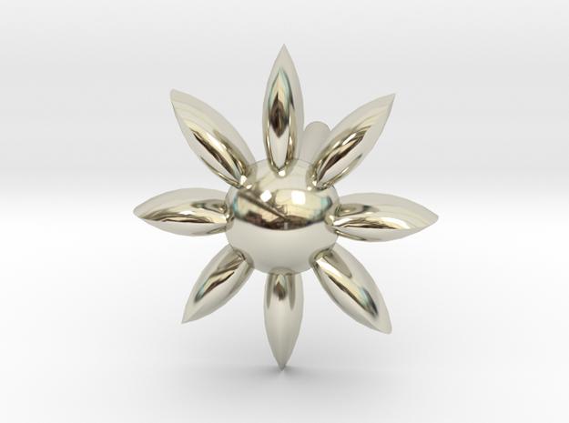 Puffed Sun Burst Earring in 14k White Gold