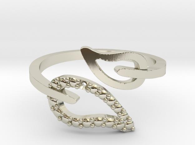 Adjustable Leaf Ring  in 14k White Gold