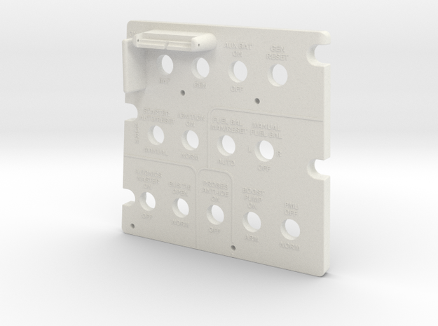 T6 Starboard Side Forward Switch Plate Cover. in White Natural Versatile Plastic
