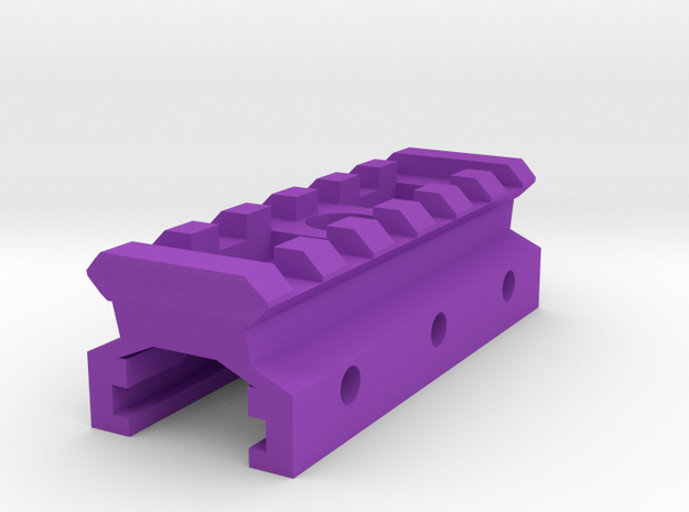 Nerf Rail to Picatinny Rail Adapter (6 Slots) in Purple Processed Versatile Plastic