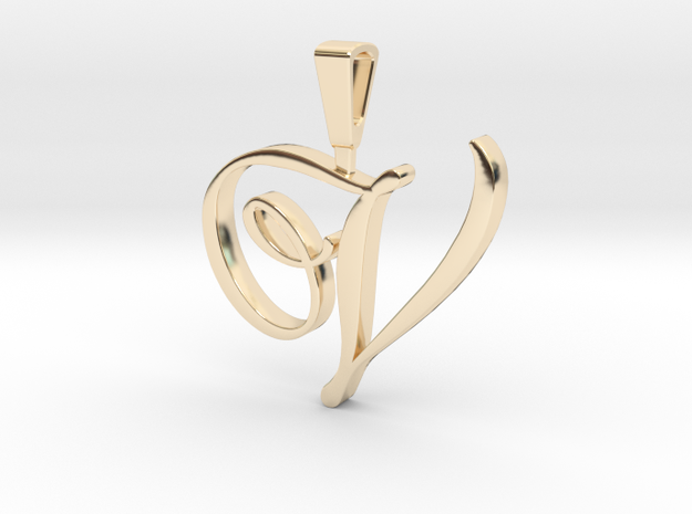 INITIAL PENDANT V in 14k Gold Plated Brass