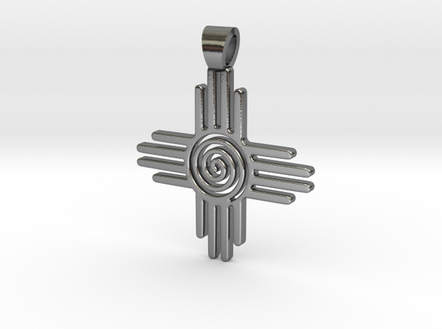 Zia's Sun spiral [pendant] in Polished Silver