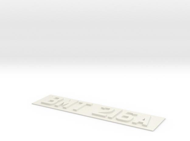 REG PLATE in White Natural Versatile Plastic