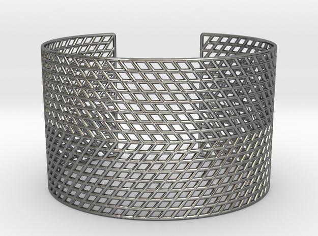 Mesh Grid Cuff in Polished Silver