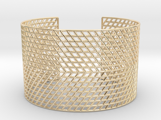 Mesh Grid Cuff in 14k Gold Plated Brass