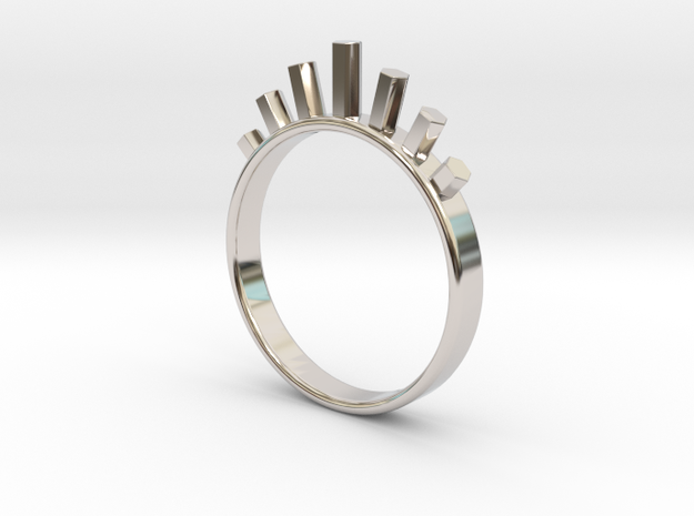 Ring with Hexagons in Platinum