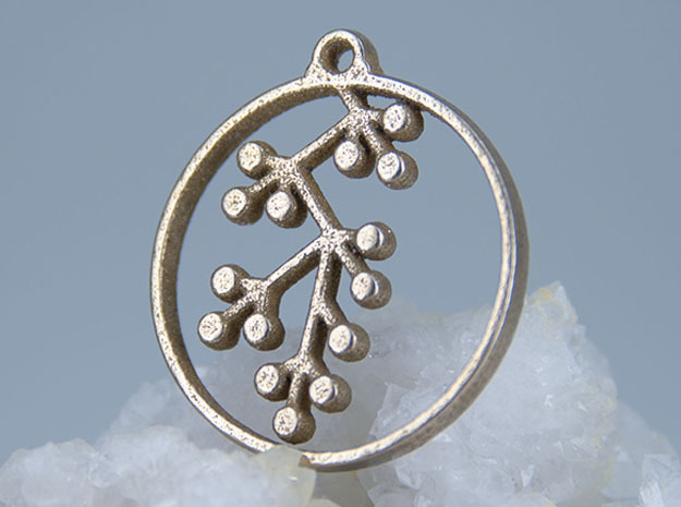 Floral Pendant III in Polished Bronzed-Silver Steel
