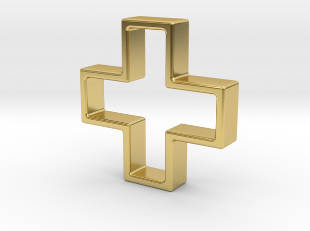 Plus Cookie Cutter in Polished Brass