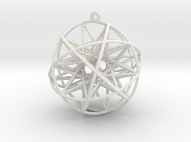"Super Penta Sphere 2"" Pendant in White Natural Versatile Plastic"
