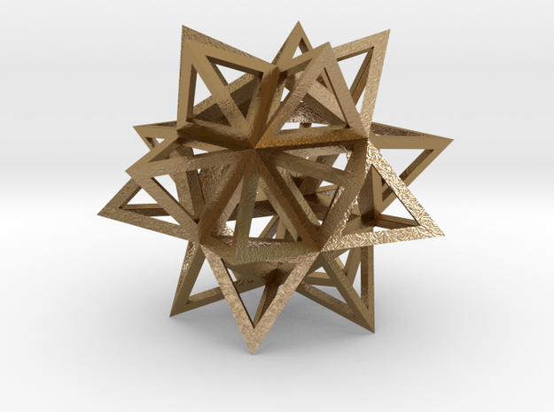"Stellated Icosahedron 1.7"" in Polished Gold Steel"