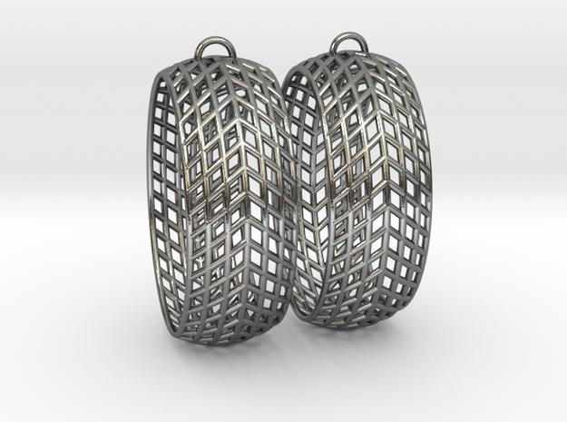 Mesh Grid Oval Hoop Earrings in Polished Silver