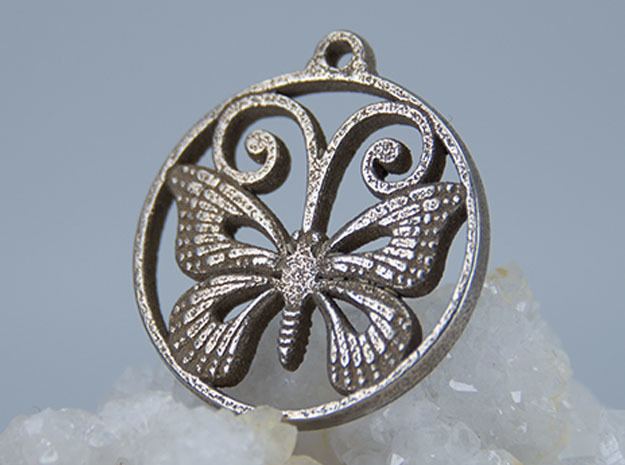 Monarch Butterfly Pendant in Polished Bronzed-Silver Steel