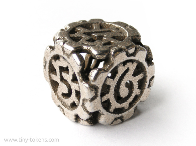 Sprocket Gear D6 (six sided gaming dice, 16 mm) in Polished Bronzed Silver Steel