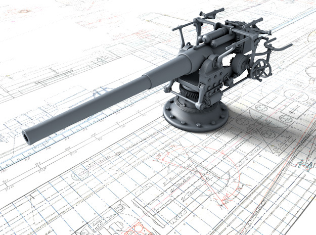 "1/96 German 8.8 cm/45 (3.46"") SK L/45 Gun in Smoothest Fine Detail Plastic"