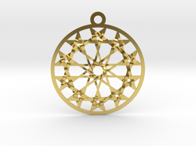 """Twelve 5 pointed Stars Pendant 1.8"""" in Polished Brass"""