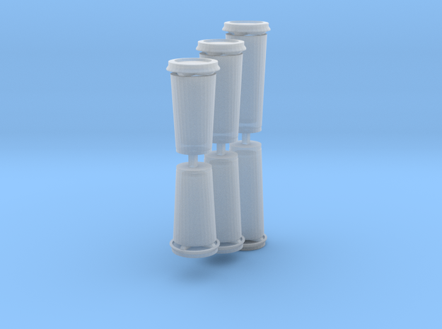 Disposable coffee cups 1:12th- hollow, with lids