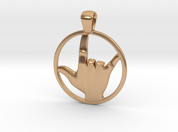 Love Sign Pendant in Polished Bronze