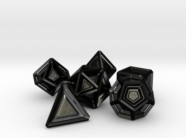 Polyhedral Dice Set in Matte Black Steel