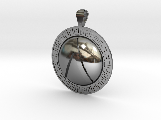 Spartan Shield Pendant in Fine Detail Polished Silver