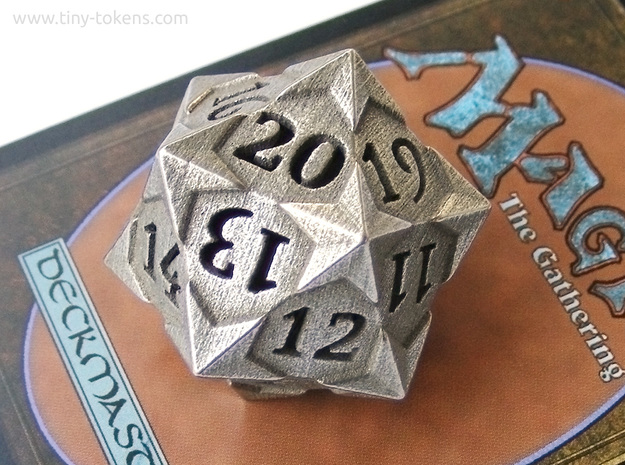 'Starry' D20 Spindown Life Counter Die in Polished Bronzed Silver Steel