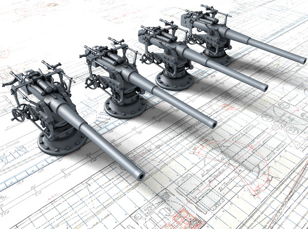 "1/192 German 8.8 cm/45 (3.46"") SK L/45 Guns x4 in Smoothest Fine Detail Plastic"