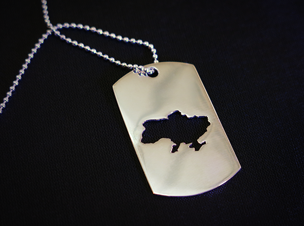 Dog Tag - Map of Ukraine - Stencil - #P3 in Polished Silver