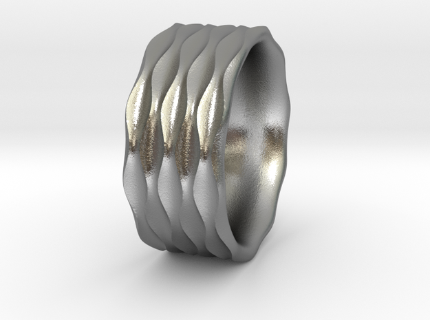 Sinewave Ring in Natural Silver