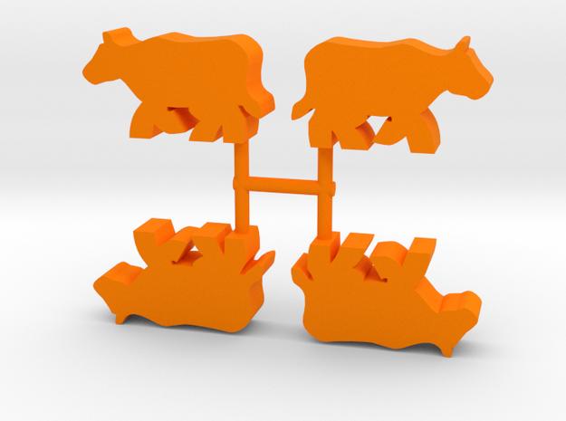 Cow Meeple, running, 4-set in Orange Processed Versatile Plastic
