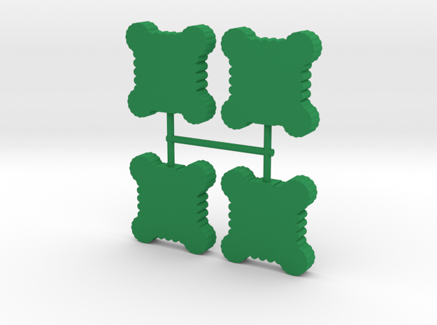 Square Palisade Wall Meeple, round towers, 4-set in Green Processed Versatile Plastic