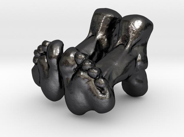 Feet Cufflinks in Polished and Bronzed Black Steel
